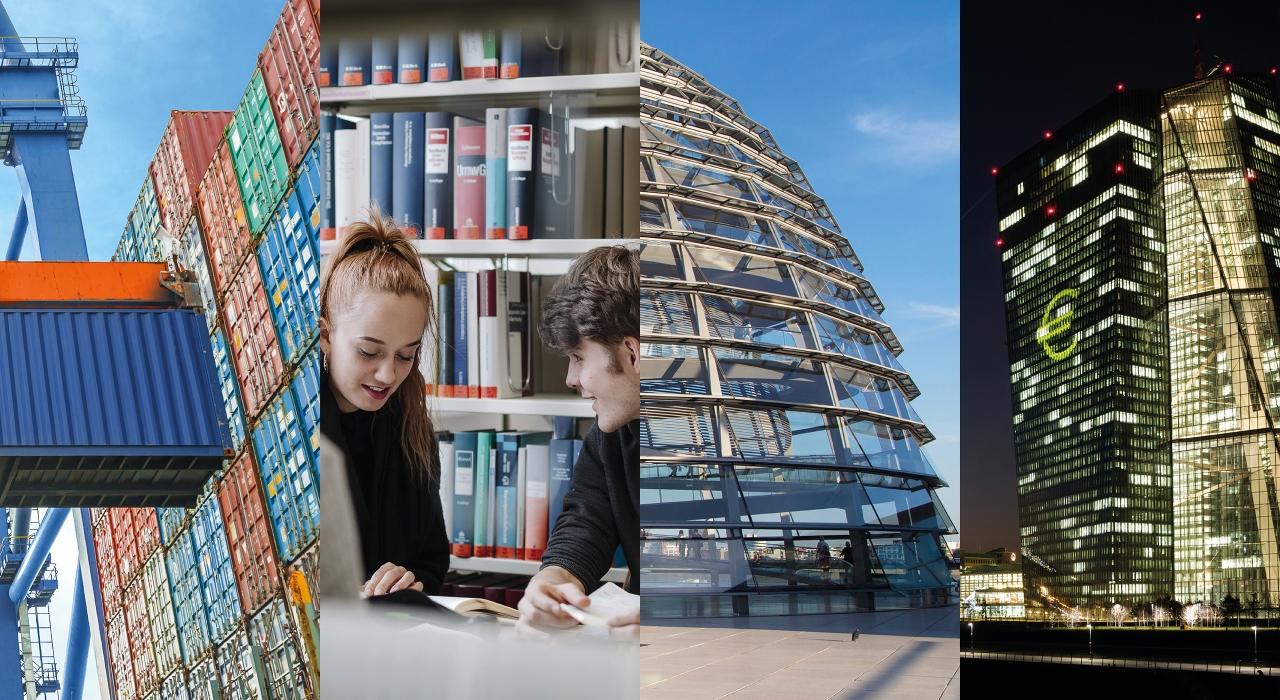 Bildcollage: Frankfurter Skyline mit der Europäischen Zentralbank und Mainhattan Civic Center, Studierende in der Bibliothek, Container im Güterverkehr, Reichstag